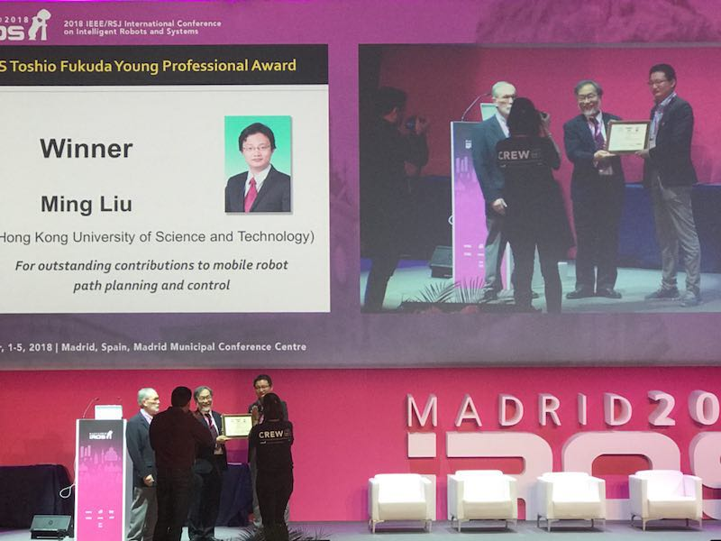 Ming received 2018 IROS Toshio Fukuda Young Professional Award