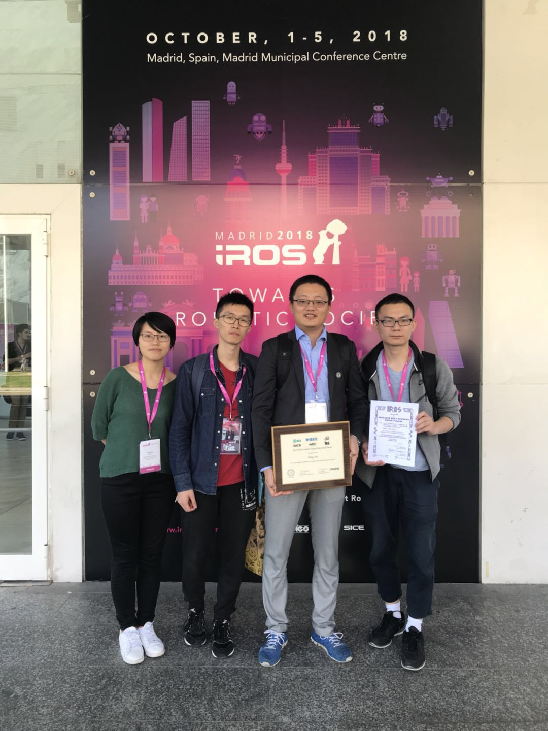 Our paper got the Best Student Paper Finalist Award at IROS 2018