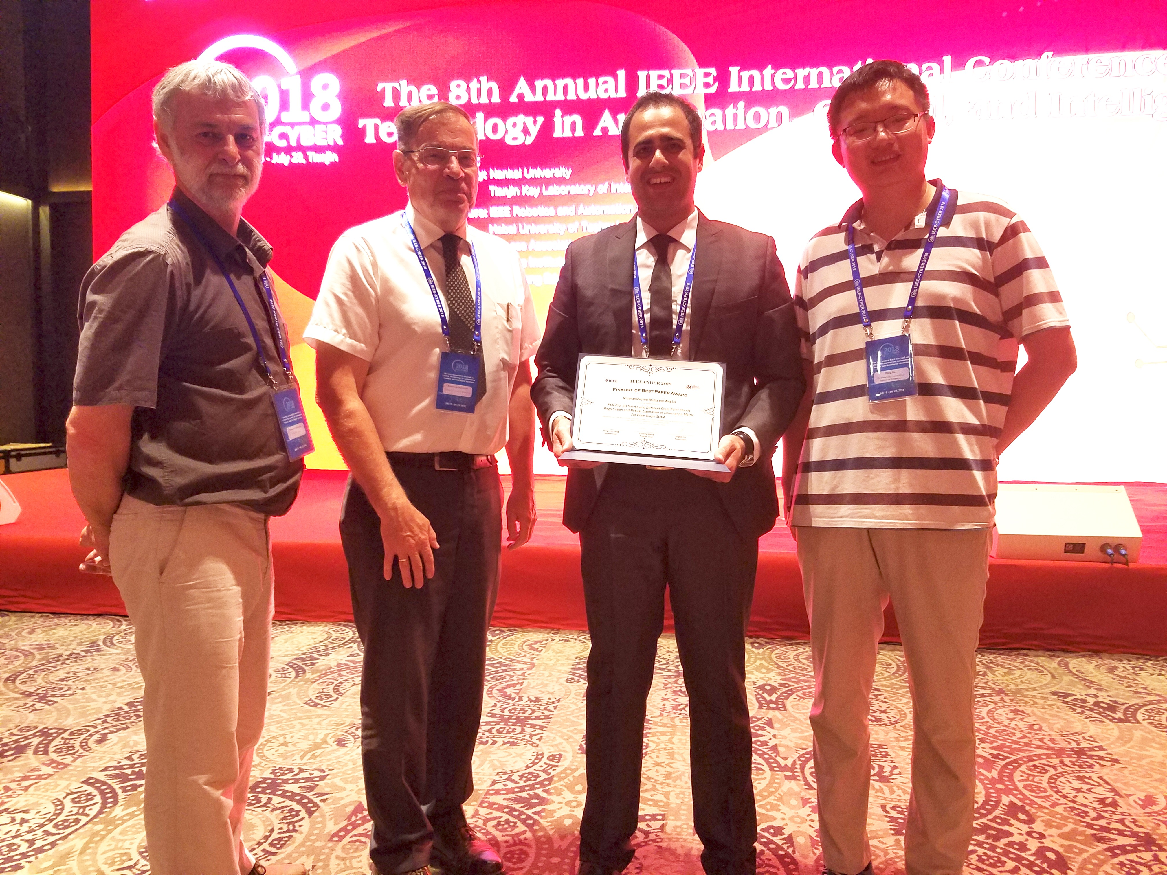 Our paper got Finalist of Best Paper Award at IEEE CYBER 2018